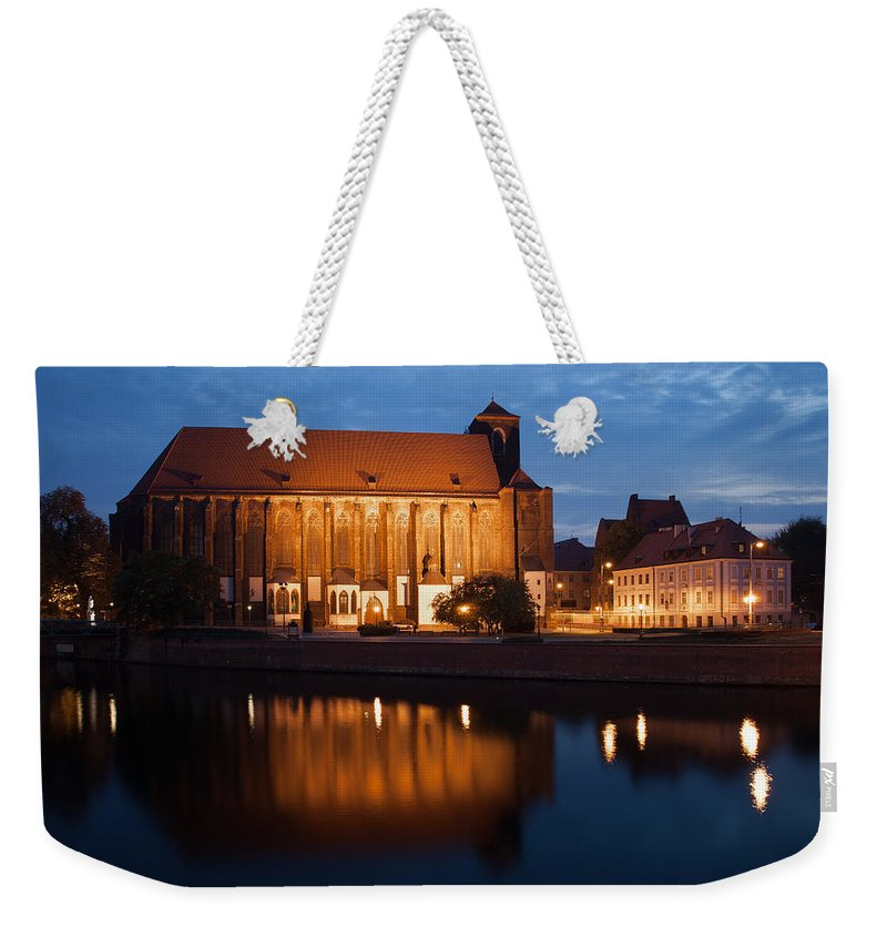 Wroclaw Weekender Tote Bag featuring the photograph Church Of Our Lady On Sand In Wroclaw By Night by Artur Bogacki