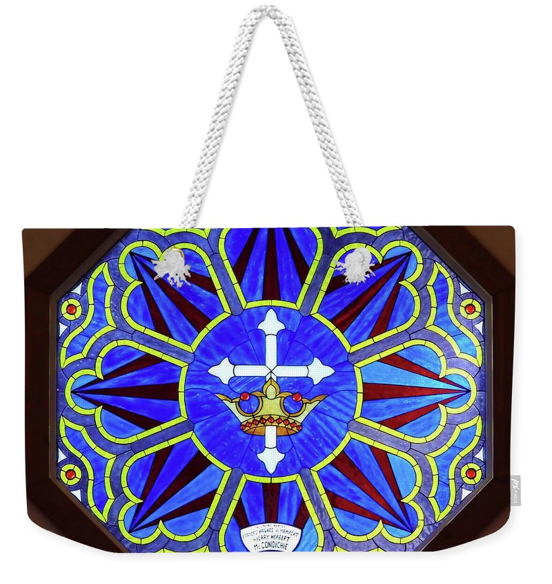 Stained Glass Weekender Tote Bag featuring the photograph Church Of The Mediator Window by D Hackett