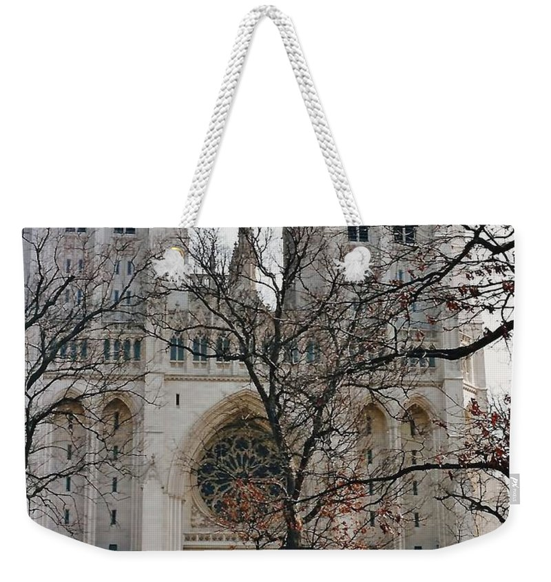 National Cathedral Weekender Tote Bag featuring the photograph Church Of The Nation by D Hackett
