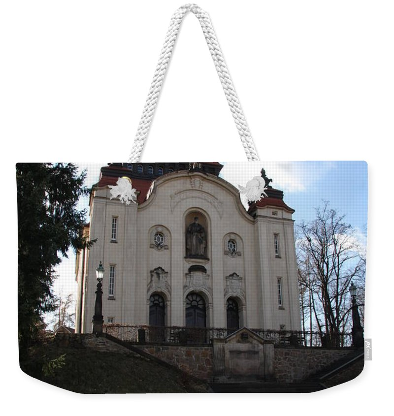 Church Weekender Tote Bag featuring the photograph Church On The Hill by Christiane Schulze Art And Photography