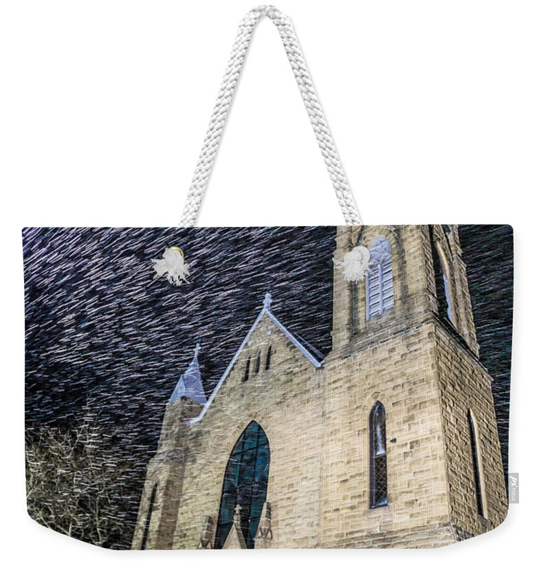 Church Weekender Tote Bag featuring the photograph Church Snowstorm by Andy Miller