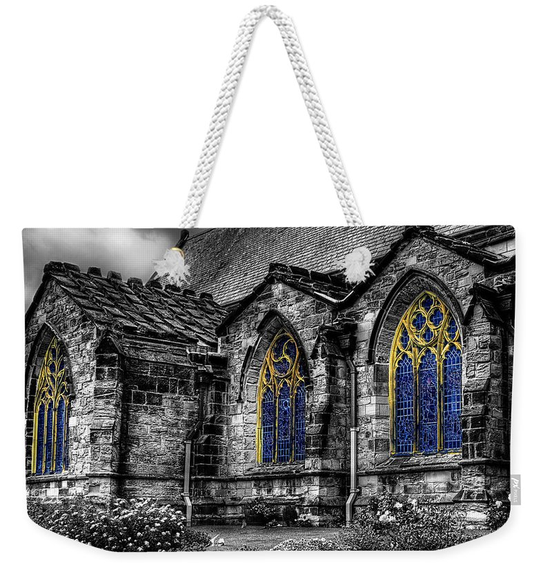 Door Weekender Tote Bag featuring the photograph Church Windows by Svetlana Sewell