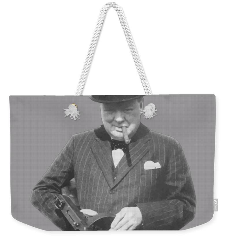Winston Churchill Weekender Tote Bag featuring the painting Churchill Posing With A Tommy Gun by War Is Hell Store