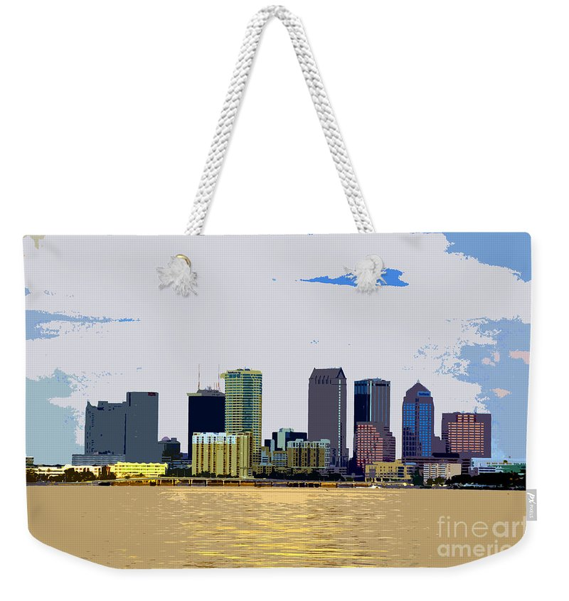 Cigar City Weekender Tote Bag featuring the painting Cigar City Skyline by David Lee Thompson