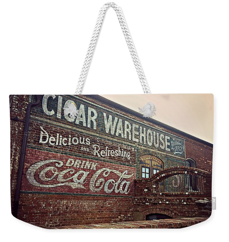Building Weekender Tote Bag featuring the photograph Cigar Warehouse Greenville Sc by Kathy Barney
