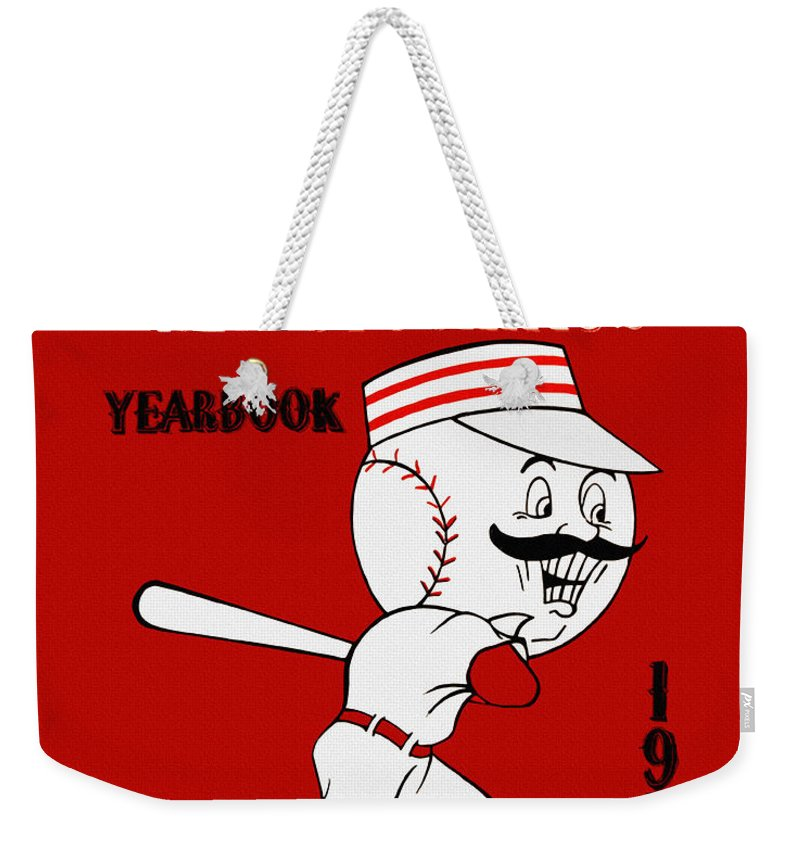 Cincinnati Reds Weekender Tote Bag featuring the painting Cincinnati Reds 1954 Vintage Yearbook by John Farr