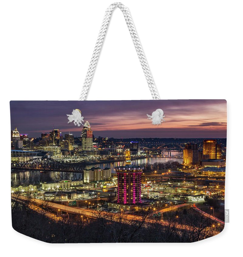 Cincinnati Weekender Tote Bag featuring the photograph Cincinnati Sunrise by Greg Grupenhof
