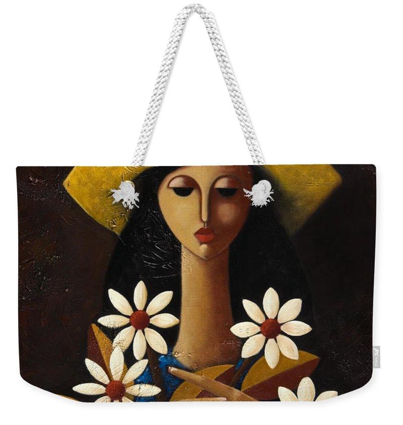 Puerto Rico Weekender Tote Bag featuring the painting Cinco Margaritas by Oscar Ortiz