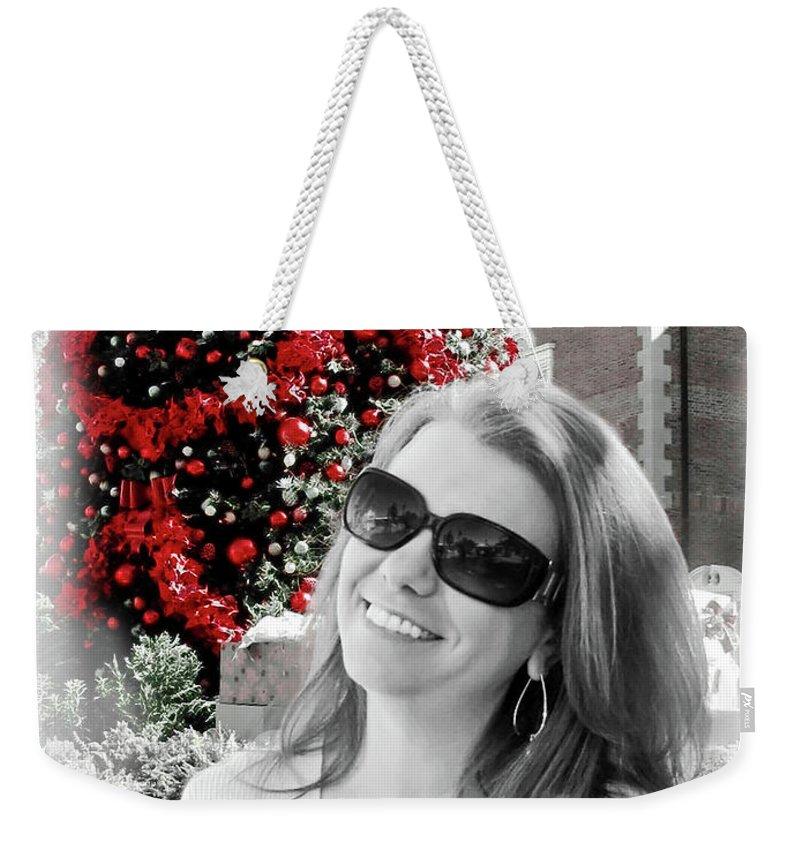Christmas Weekender Tote Bag featuring the digital art Cindy by Joan Minchak