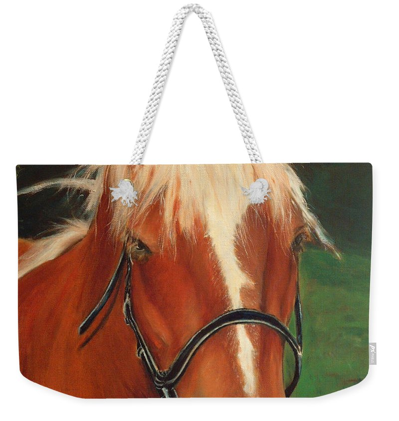 Euqestrian Art Weekender Tote Bag featuring the painting Cinnamon The Horse by Portraits By NC