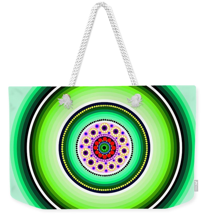 Art Weekender Tote Bag featuring the painting Circle Motif 229 by John F Metcalf