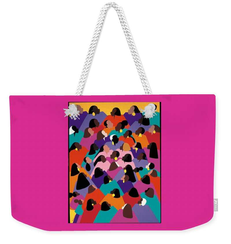 Figurative Weekender Tote Bag featuring the painting Circle Of Promise by Synthia SAINT JAMES