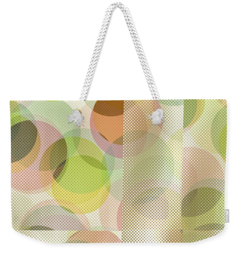 Abstract Weekender Tote Bag featuring the digital art Circle Pattern Overlay II by Ruth Palmer