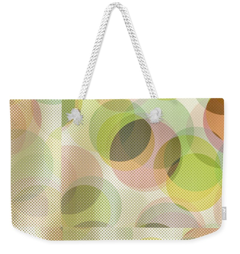 Abstract Weekender Tote Bag featuring the digital art Circle Pattern Overlay by Ruth Palmer