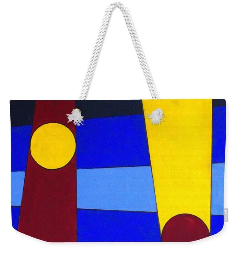 Abstract Weekender Tote Bag featuring the painting Circles Lines Color by J R Seymour