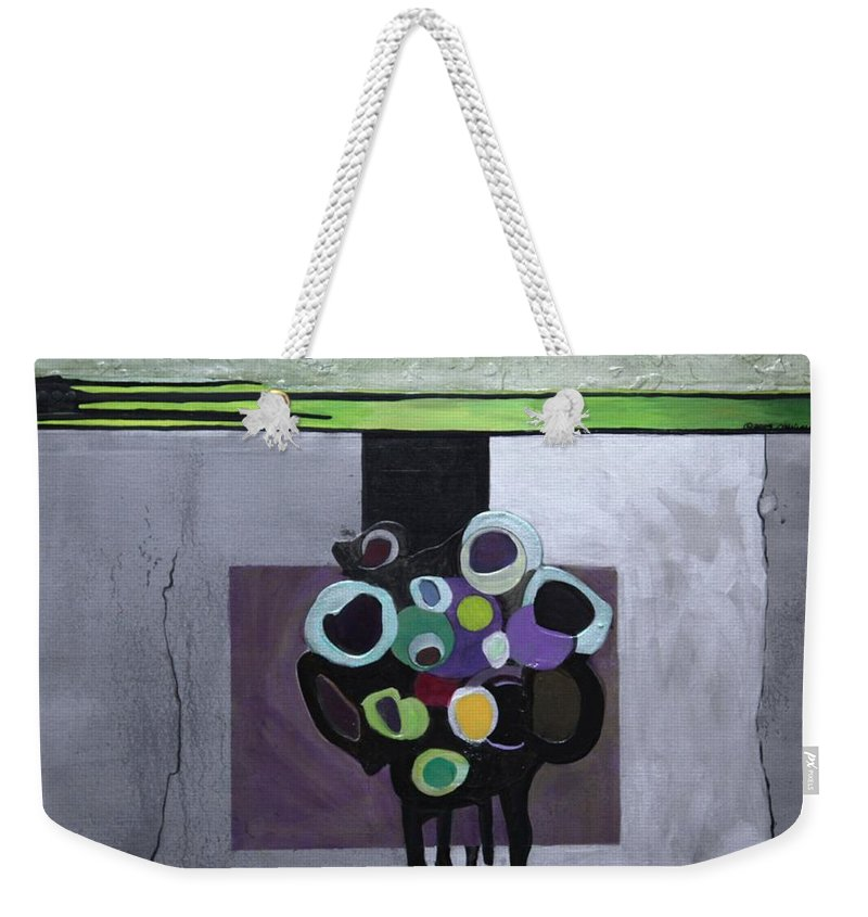 Abstract Weekender Tote Bag featuring the painting Circles Of Celadon by Marlene Burns