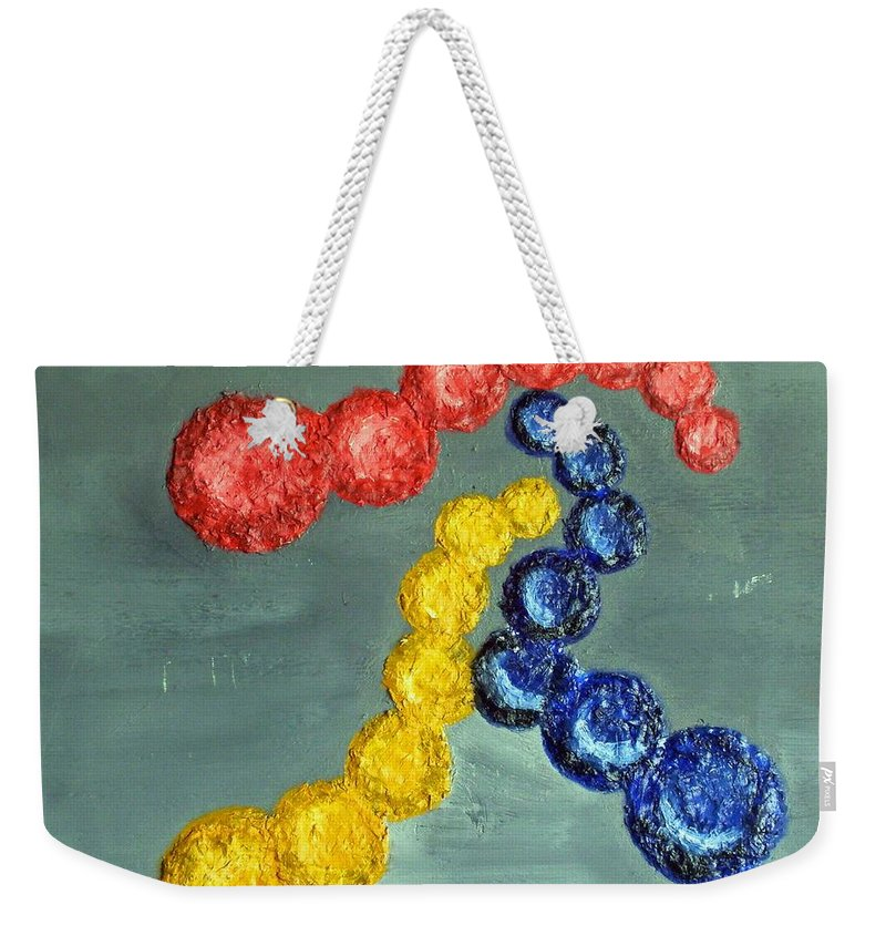 Still Life Paintings Weekender Tote Bag featuring the painting Circles Of Life by Leslye Miller