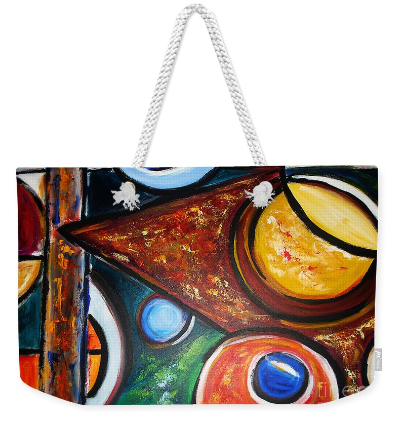 Abstract Painting Weekender Tote Bag featuring the painting Circles Of Life by Yael VanGruber