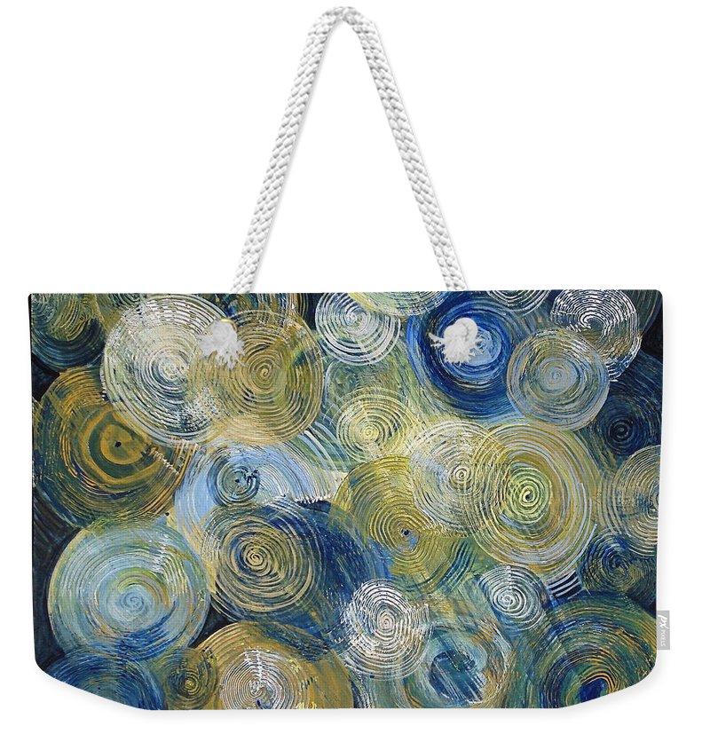 Circles Weekender Tote Bag featuring the painting Circles by Regina Davidson