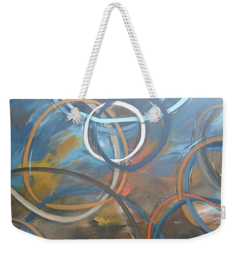 Circles Weekender Tote Bag featuring the painting Circles by Travis Day