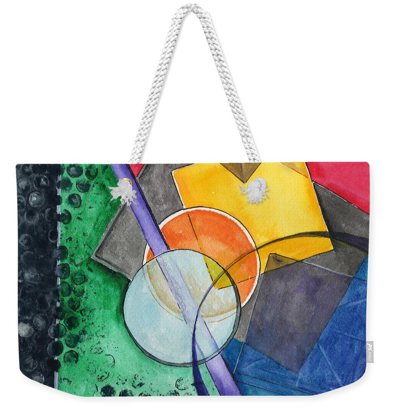 Watercolor Weekender Tote Bag featuring the painting Circular Confusion by Brenda Owen