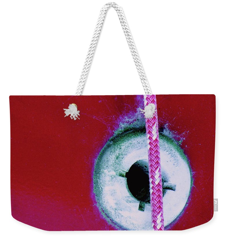 Abstract Weekender Tote Bag featuring the photograph Circular Rojo by Dorothy Hilde