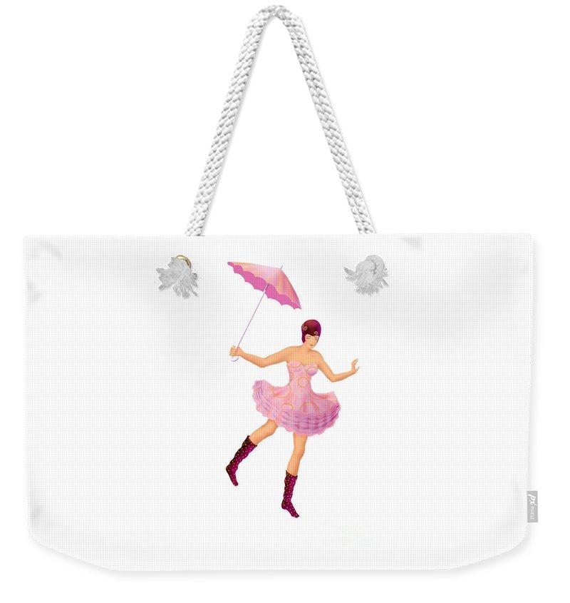 Ballerina Weekender Tote Bag featuring the digital art Circus 3 by Ursula Koehrer