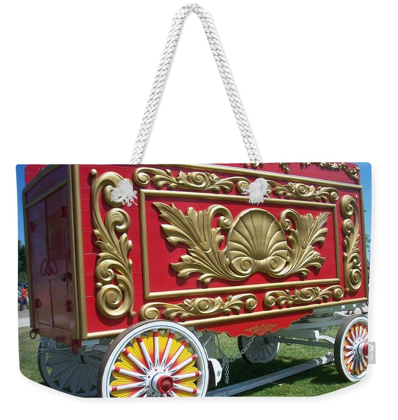 Circus Weekender Tote Bag featuring the photograph Circus Car In Red And Gold by Anita Burgermeister