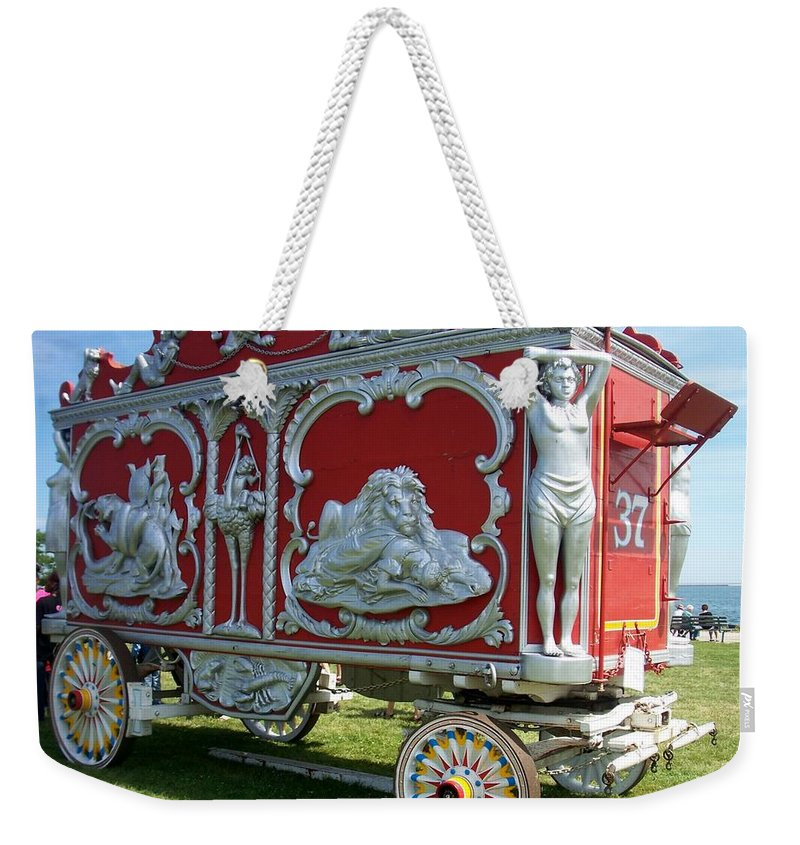Circus Weekender Tote Bag featuring the photograph Circus Car In Red And Silver by Anita Burgermeister