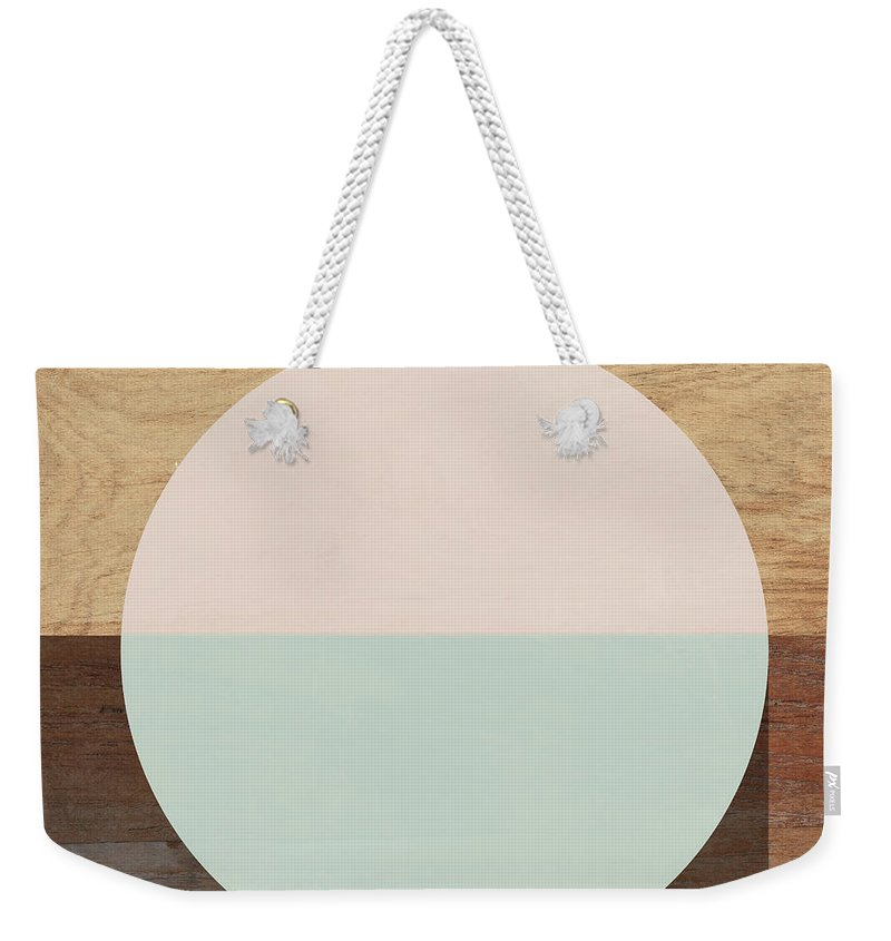 Modern Weekender Tote Bag featuring the mixed media Cirkel in Peach and Mint- Art by Linda Woods by Linda Woods