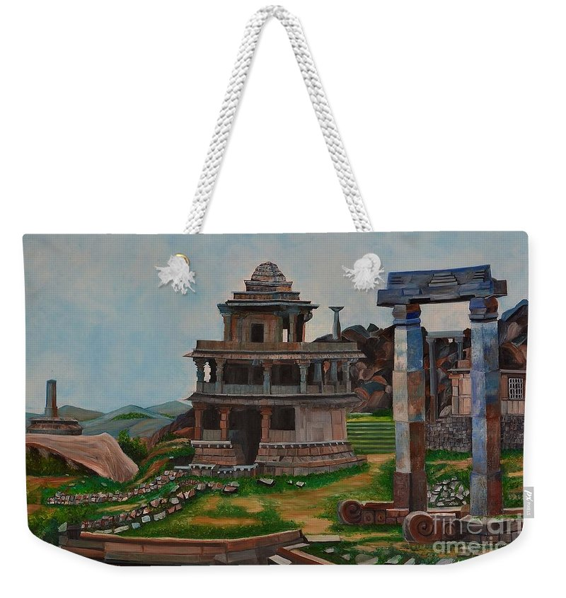 Landscape Weekender Tote Bag featuring the painting Cithradurga Fort by Usha Rai