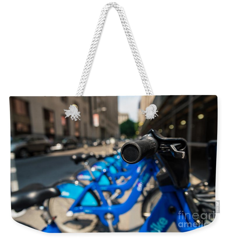 Flatiron Building Weekender Tote Bag featuring the photograph Citibike Handle Manhattan Color by Alissa Beth Photography