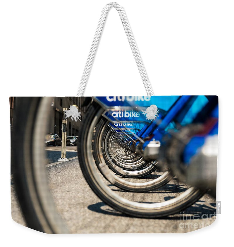 Flatiron Building Weekender Tote Bag featuring the photograph Citibike Manhattan by Alissa Beth Photography