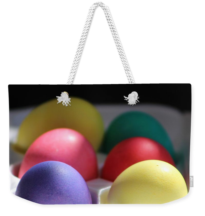 Dye Weekender Tote Bag featuring the photograph Citrus and Ultra Violet Easter Eggs by Colleen Cornelius