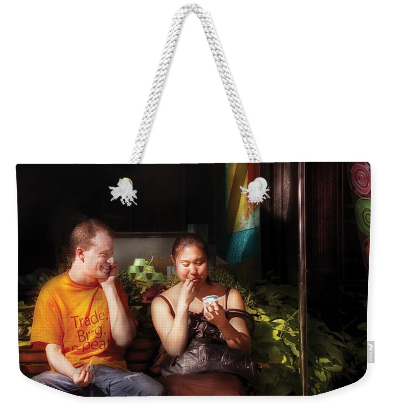 Savad Weekender Tote Bag featuring the photograph City - Ny - Mariebelle Gelato by Mike Savad
