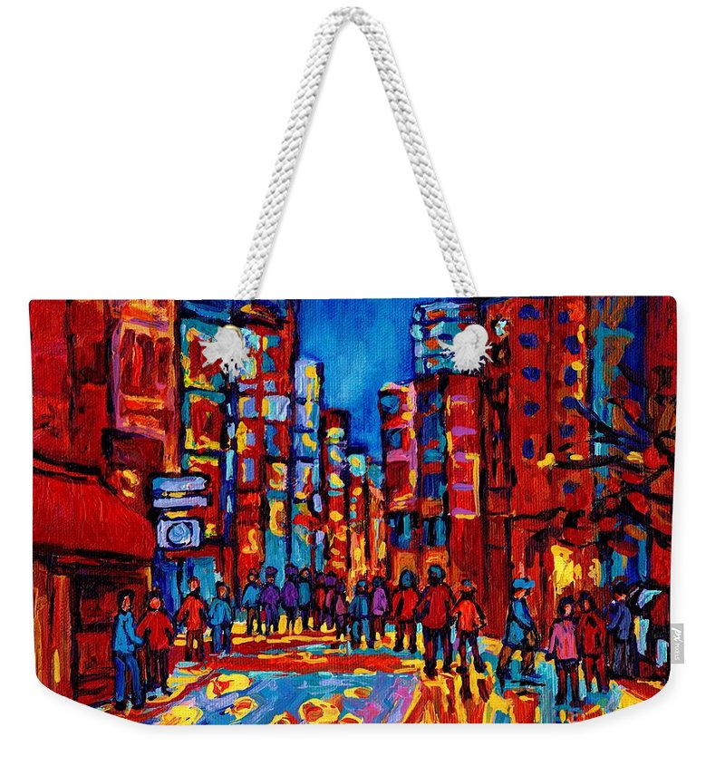 Montreal Weekender Tote Bag featuring the painting City After The Rain by Carole Spandau