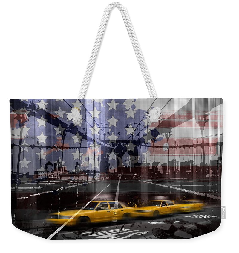 Abstract Weekender Tote Bag featuring the photograph City-art Nyc Composing by Melanie Viola