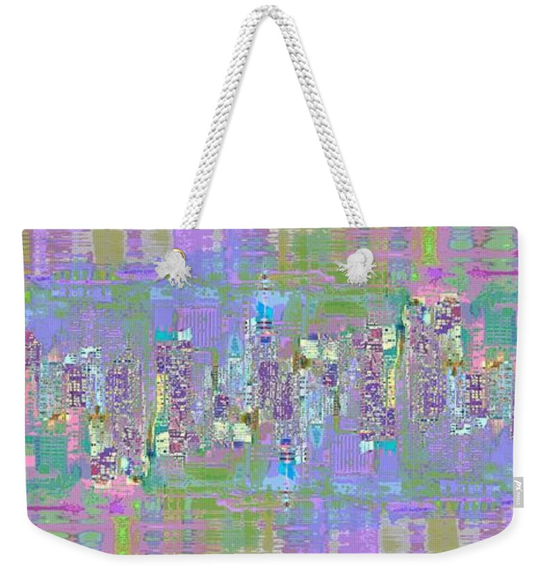 Abstract Weekender Tote Bag featuring the digital art City Blox Light by Mary Clanahan