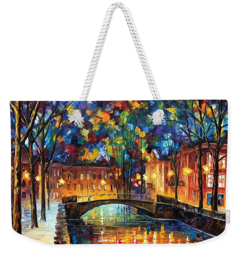 Afremov Weekender Tote Bag featuring the painting City Bridge by Leonid Afremov