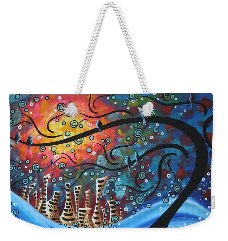 Art Weekender Tote Bag featuring the painting City By The Sea By Madart by Megan Duncanson
