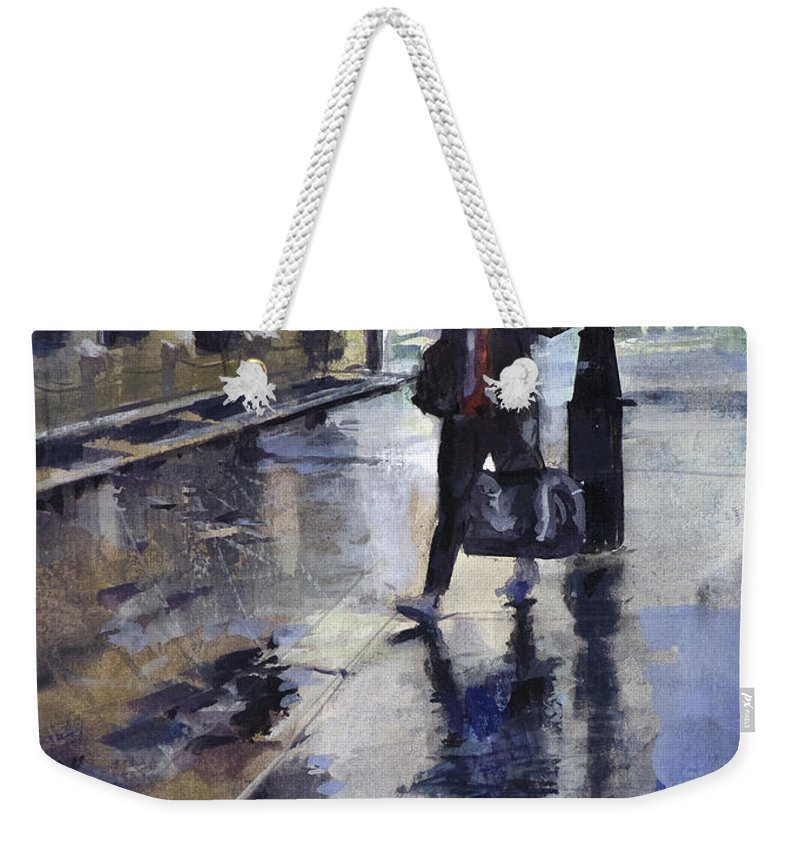 Rain Late Evening Umbrella Wet Rainy Misty Mist Gouache Watercolor Cityscape Nostalgia Moody Weekender Tote Bag featuring the painting City Evening Rain by Carlos Herrera