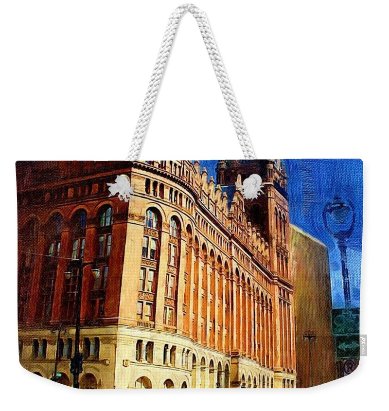 Architecture Weekender Tote Bag featuring the digital art City Hall And Lamp Post by Anita Burgermeister