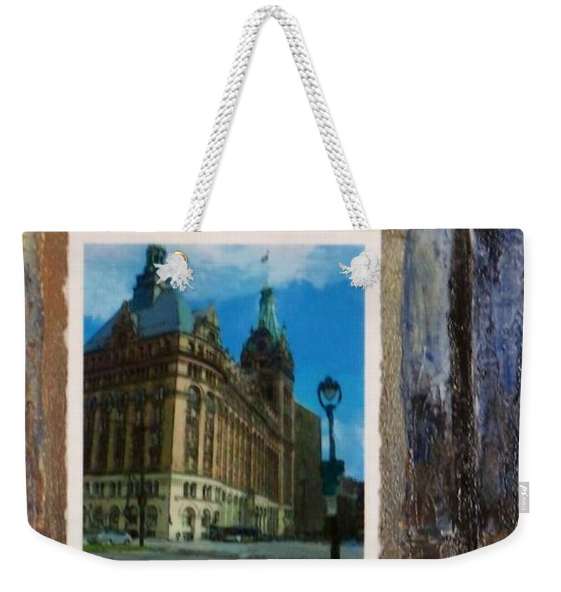 City Hall Weekender Tote Bag featuring the mixed media City Hall And Street Lamp by Anita Burgermeister