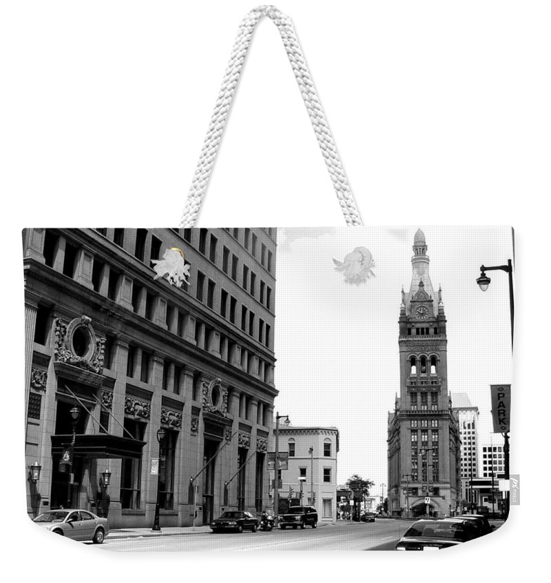 Milwaukee Weekender Tote Bag featuring the photograph City Hall B-w by Anita Burgermeister