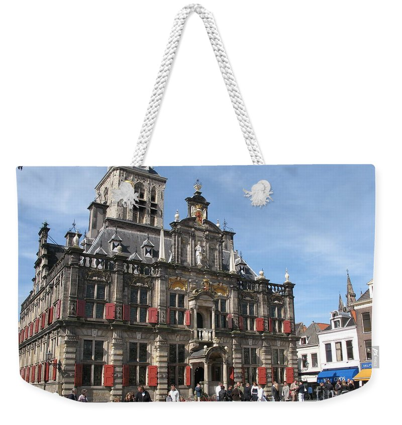 City Hall Weekender Tote Bag featuring the photograph City Hall - Delft - Netherlands by Christiane Schulze Art And Photography