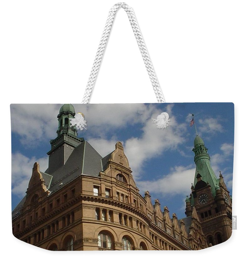 Milwaukee Weekender Tote Bag featuring the photograph City Hall Roof And Tower by Anita Burgermeister