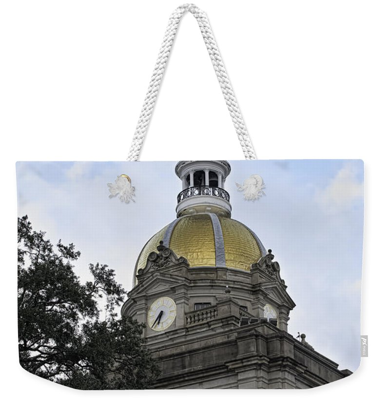 Savannah Weekender Tote Bag featuring the photograph City Hall Savannah by Judy Wolinsky