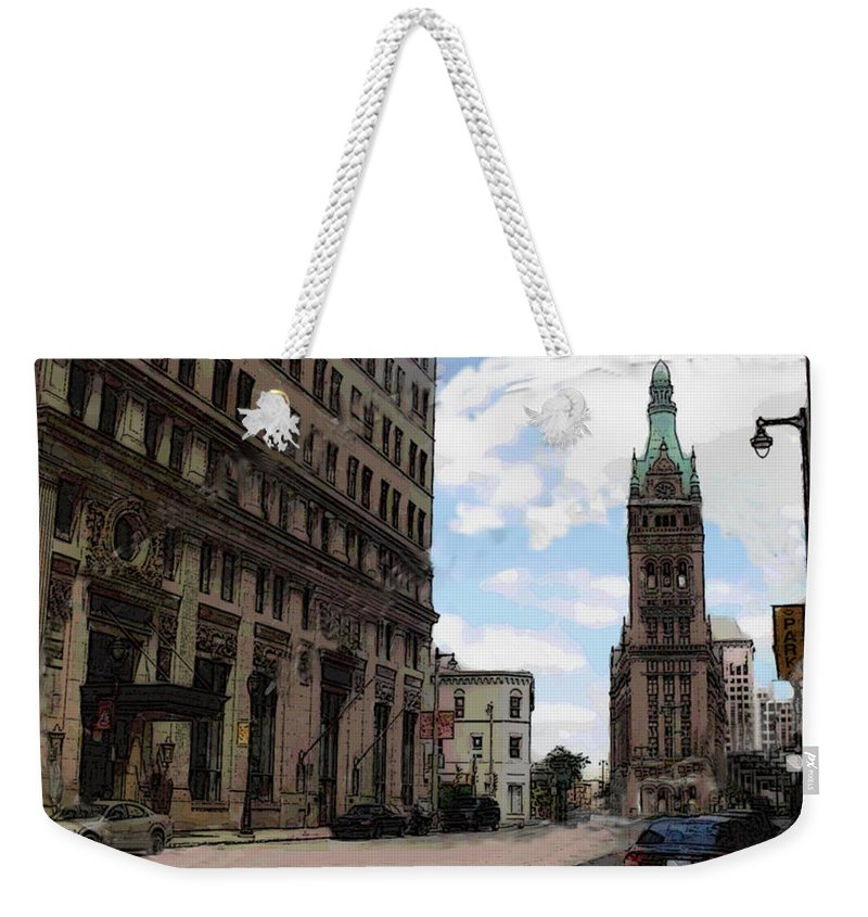 City Hall Weekender Tote Bag featuring the digital art City Hall View From South by Anita Burgermeister