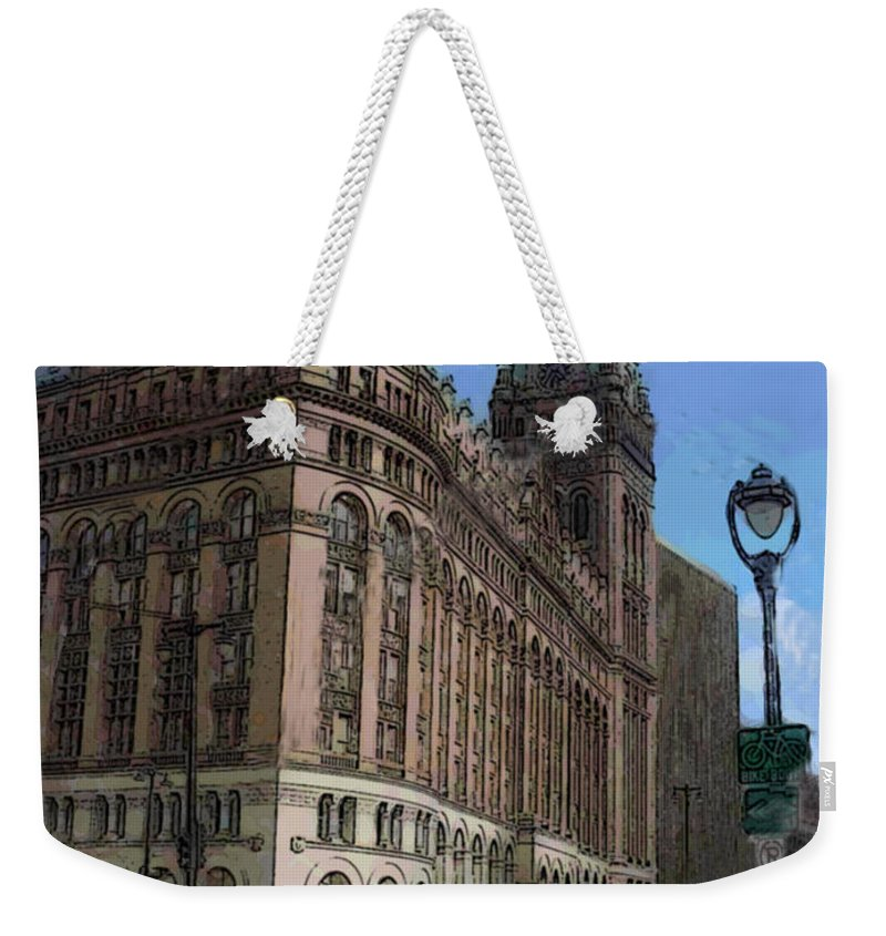 City Hall Weekender Tote Bag featuring the digital art City Hall With Street Lamp by Anita Burgermeister