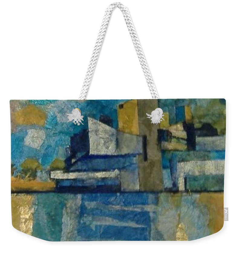 Weekender Tote Bag featuring the mixed media City In Harmony by Pat Snook